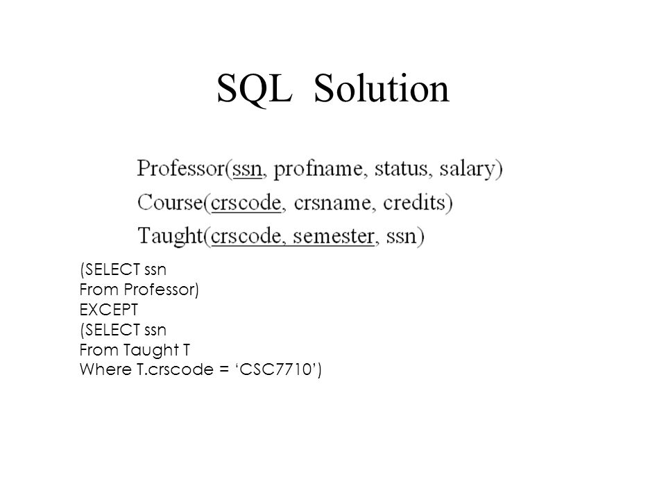 SQL Solution (SELECT ssn From Professor) EXCEPT From Taught T