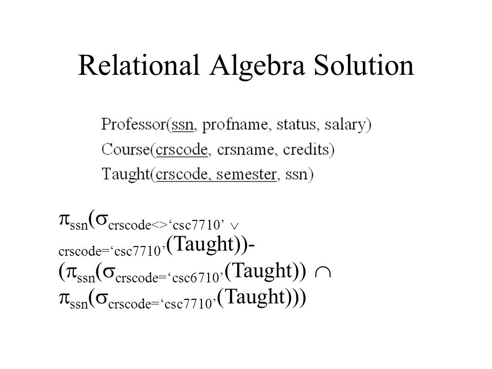 Relational Algebra Solution