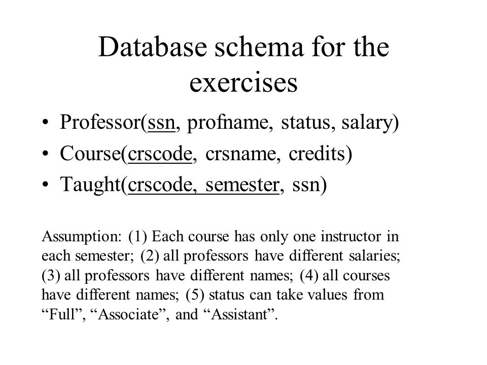 Database schema for the exercises