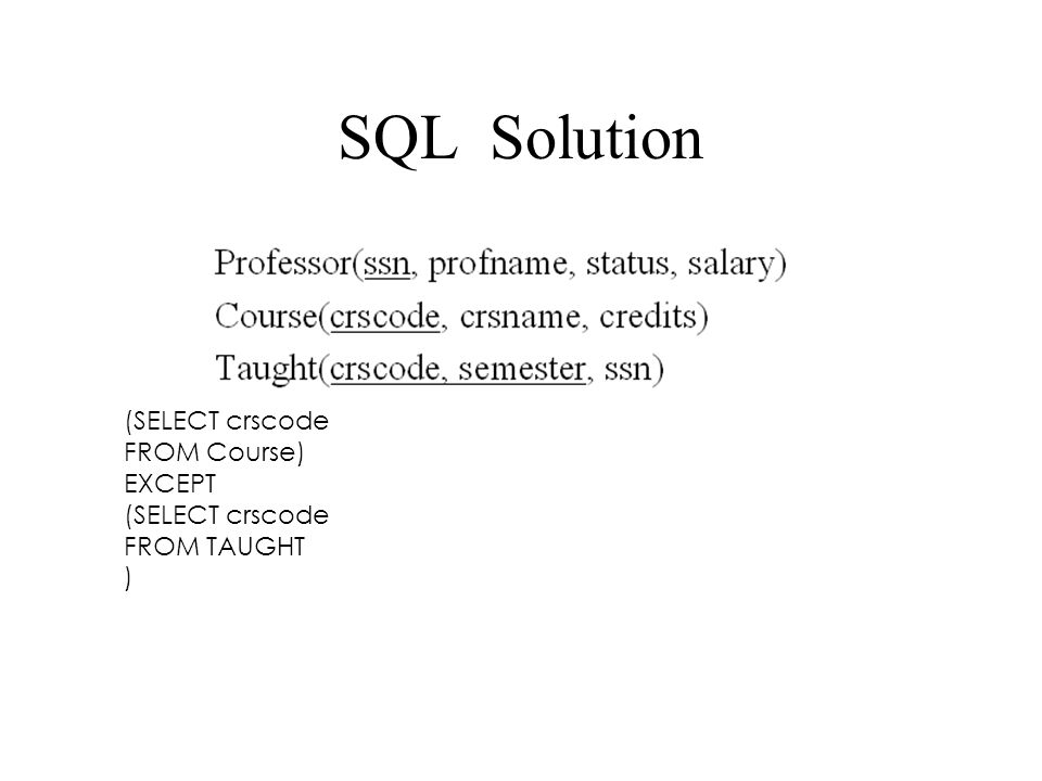 SQL Solution (SELECT crscode FROM Course) EXCEPT FROM TAUGHT )