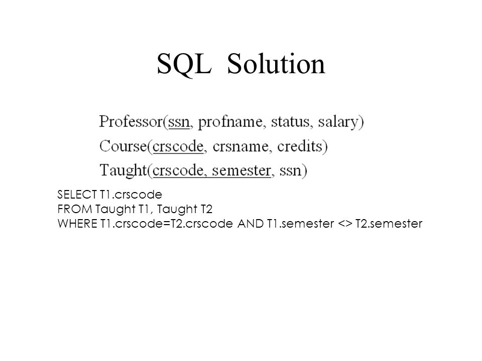SQL Solution SELECT T1.crscode FROM Taught T1, Taught T2