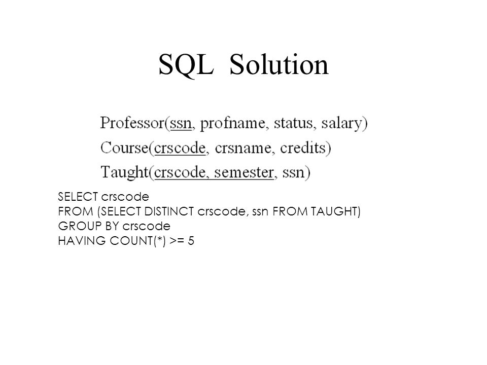 SQL Solution SELECT crscode