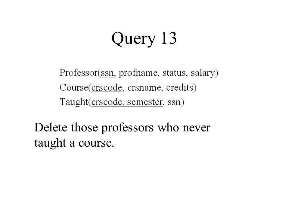 Query 13 Delete those professors who never taught a course.