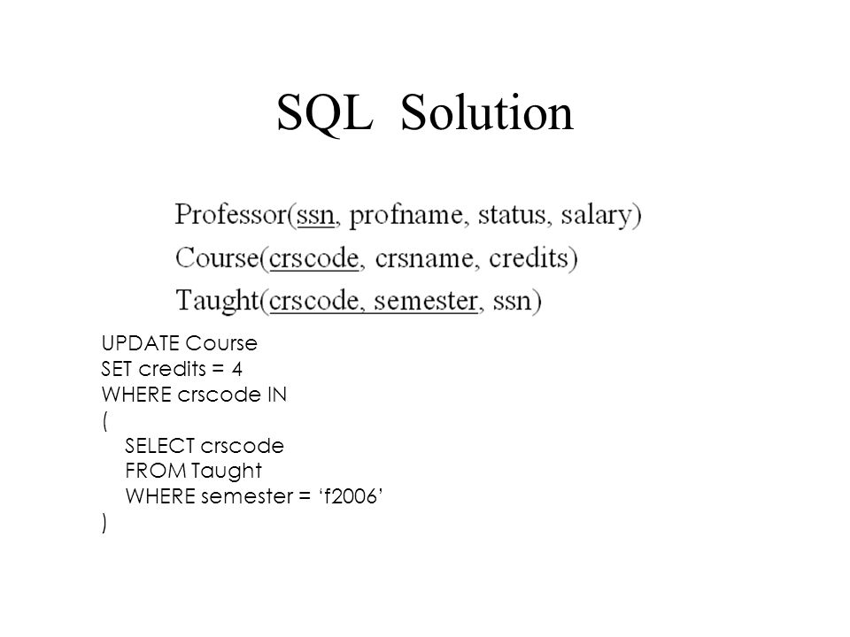 SQL Solution UPDATE Course SET credits = 4 WHERE crscode IN (