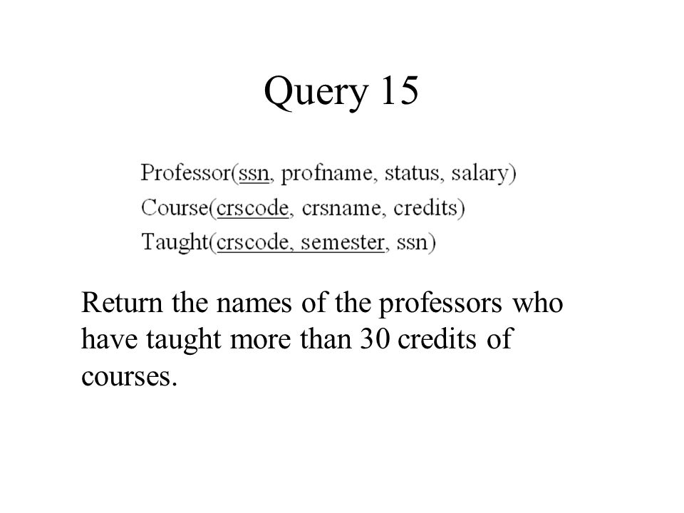 Query 15 Return the names of the professors who have taught more than 30 credits of courses.