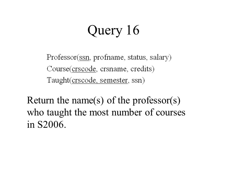 Query 16 Return the name(s) of the professor(s) who taught the most number of courses in S2006.