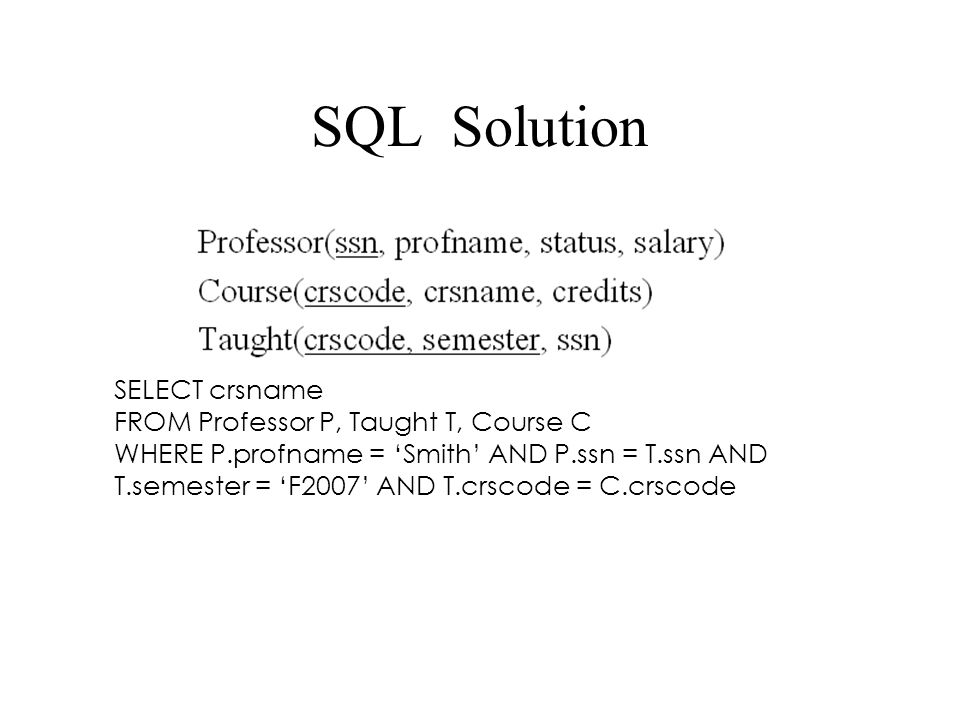 SQL Solution SELECT crsname FROM Professor P, Taught T, Course C