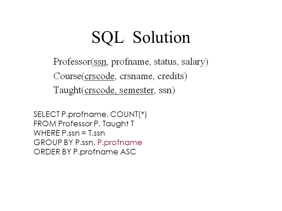 SQL Solution SELECT P.profname, COUNT(*) FROM Professor P, Taught T