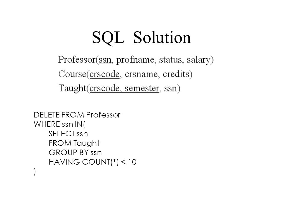 SQL Solution DELETE FROM Professor WHERE ssn IN( SELECT ssn