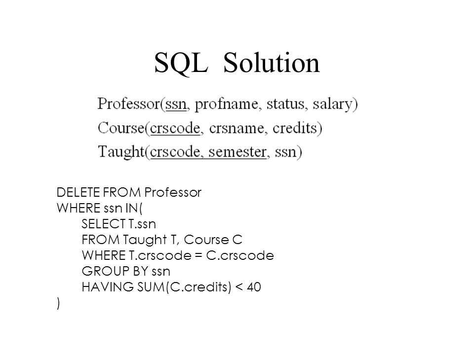 SQL Solution DELETE FROM Professor WHERE ssn IN( SELECT T.ssn