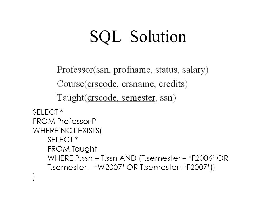 SQL Solution SELECT * FROM Professor P WHERE NOT EXISTS( FROM Taught