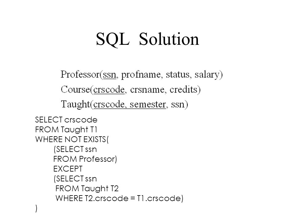 SQL Solution SELECT crscode FROM Taught T1 WHERE NOT EXISTS(
