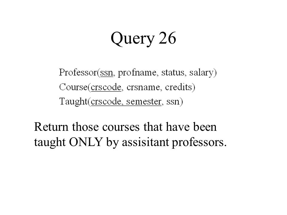 Query 26 Return those courses that have been taught ONLY by assisitant professors.