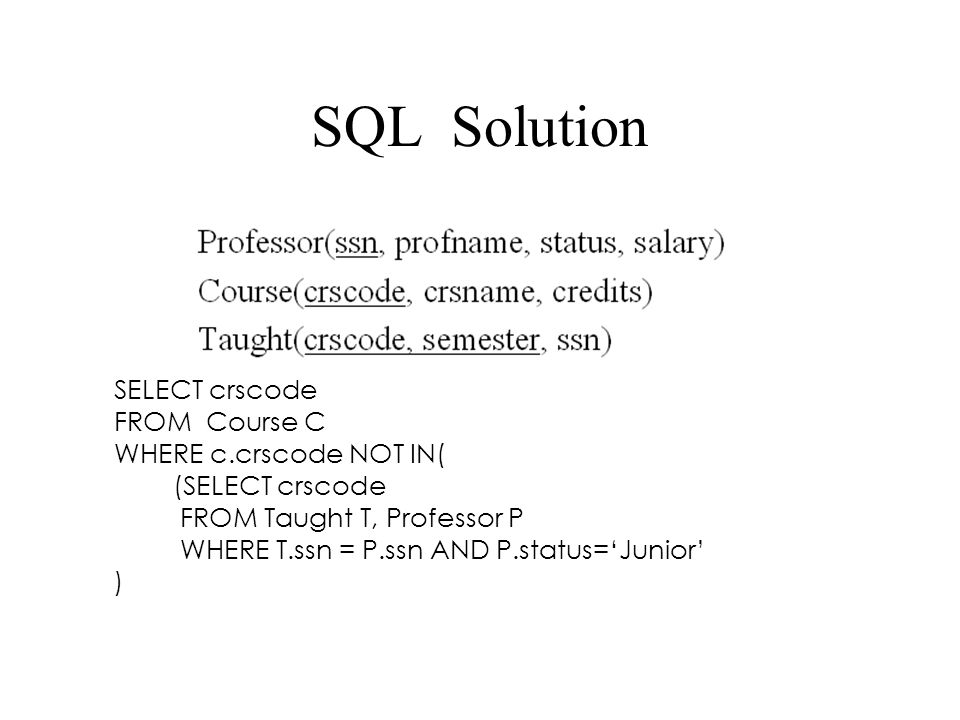 SQL Solution SELECT crscode FROM Course C WHERE c.crscode NOT IN(