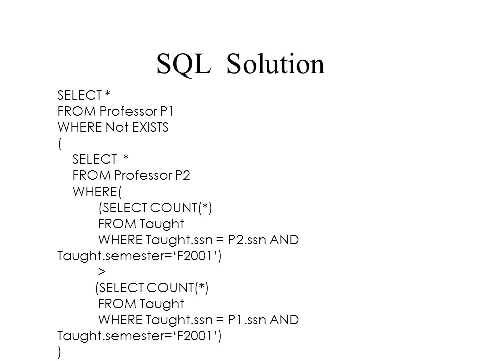 SQL Solution SELECT * FROM Professor P1 WHERE Not EXISTS ( SELECT *