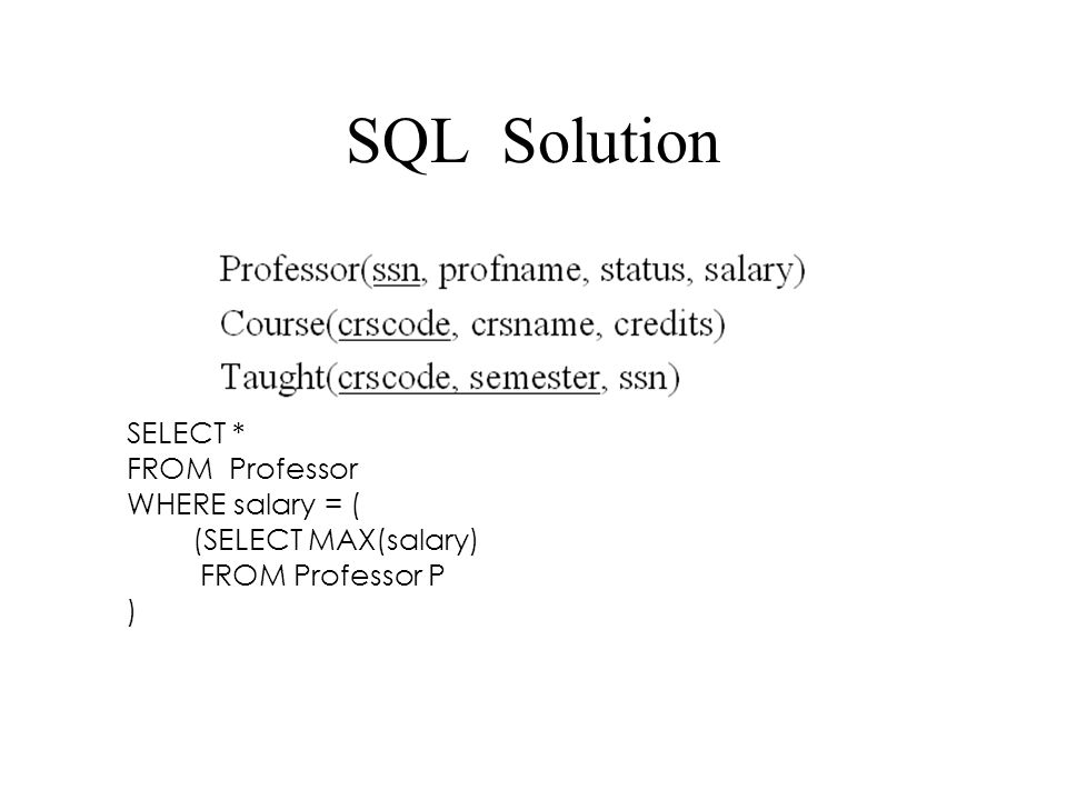 SQL Solution SELECT * FROM Professor WHERE salary = (