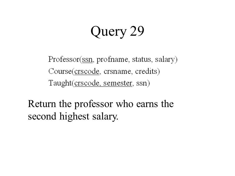 Query 29 Return the professor who earns the second highest salary.