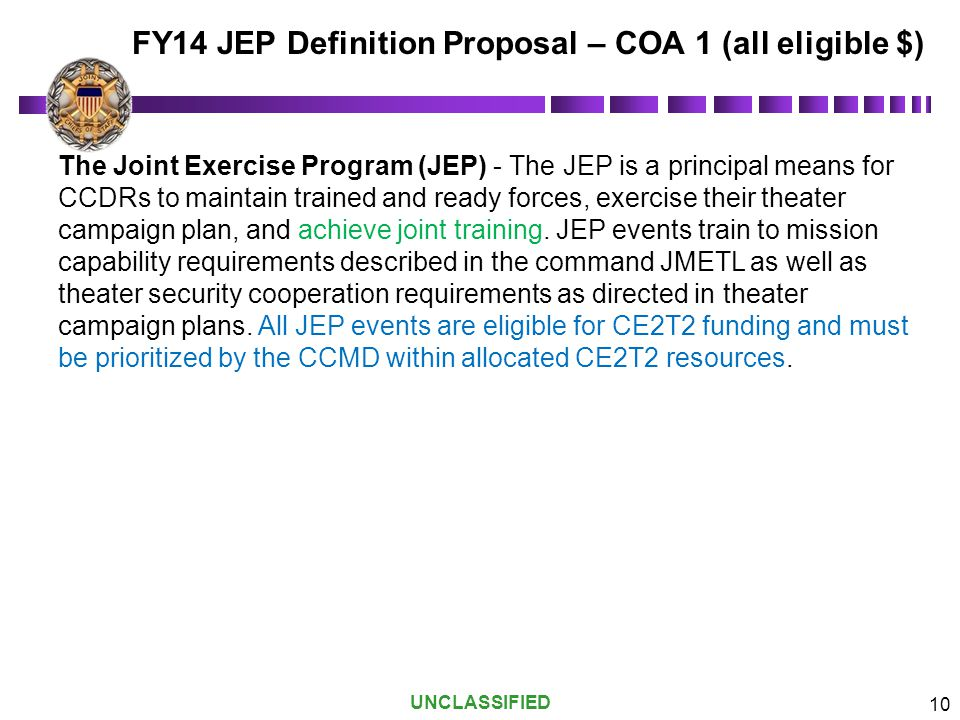 FY14 JEP Definition Proposal – COA 1 (all eligible $)