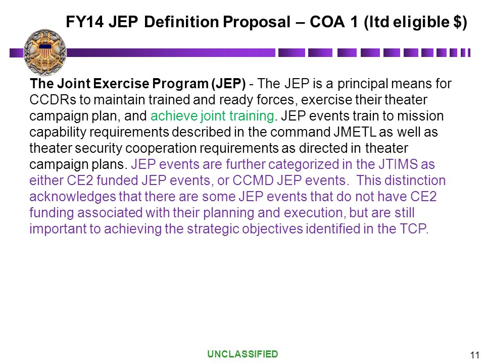 FY14 JEP Definition Proposal – COA 1 (ltd eligible $)
