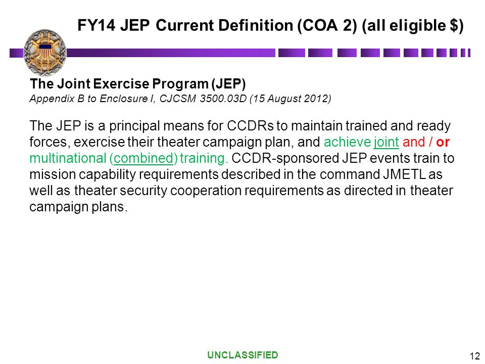 FY14 JEP Current Definition (COA 2) (all eligible $)