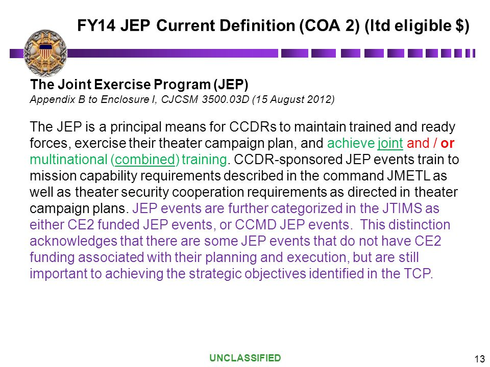 FY14 JEP Current Definition (COA 2) (ltd eligible $)