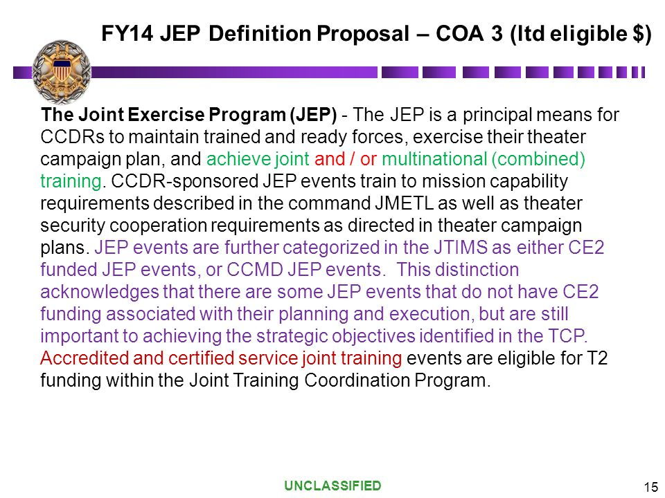 FY14 JEP Definition Proposal – COA 3 (ltd eligible $)