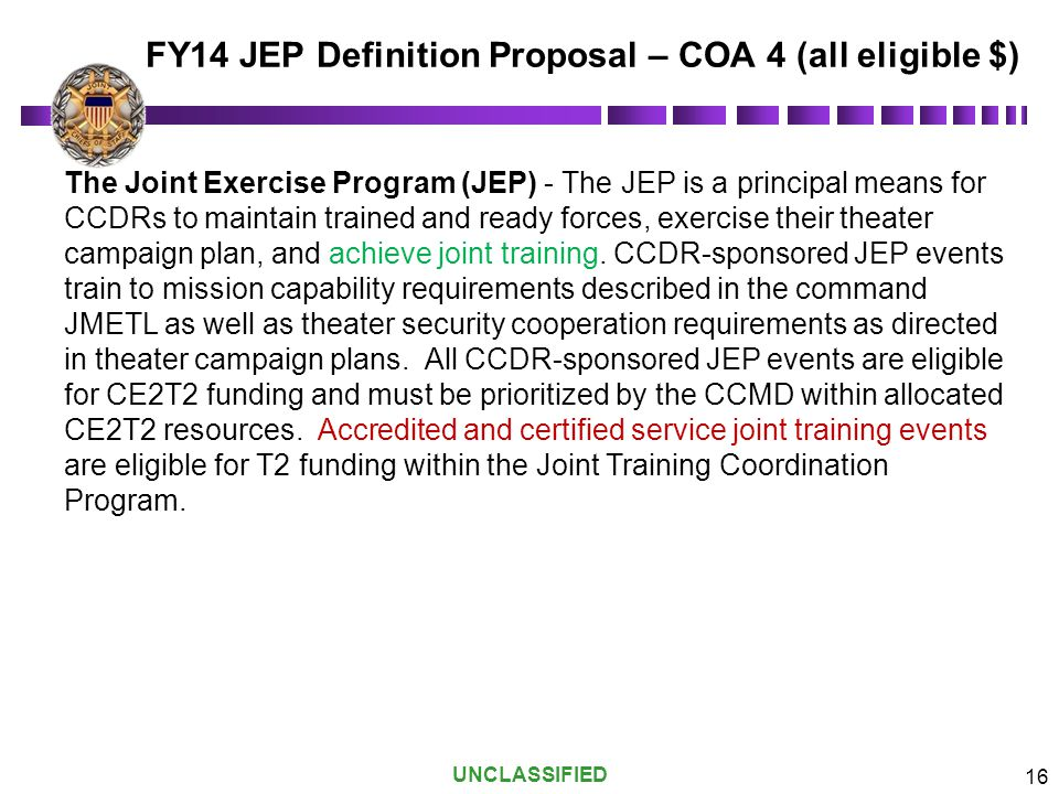 FY14 JEP Definition Proposal – COA 4 (all eligible $)