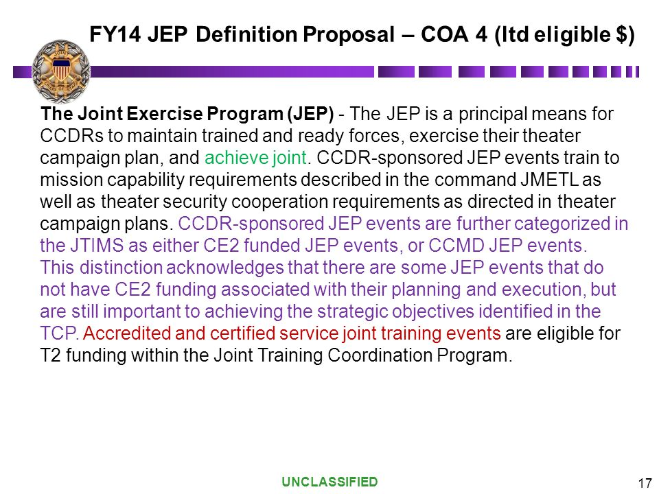 FY14 JEP Definition Proposal – COA 4 (ltd eligible $)