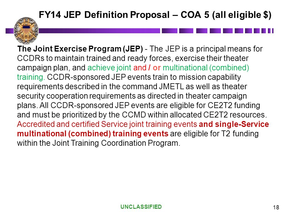 FY14 JEP Definition Proposal – COA 5 (all eligible $)