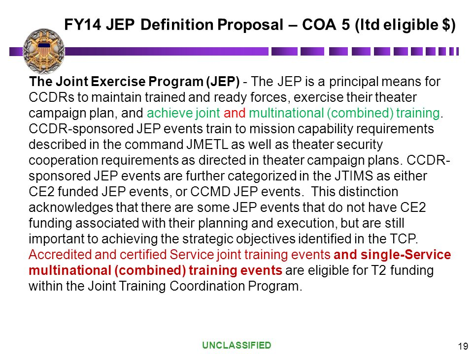 FY14 JEP Definition Proposal – COA 5 (ltd eligible $)