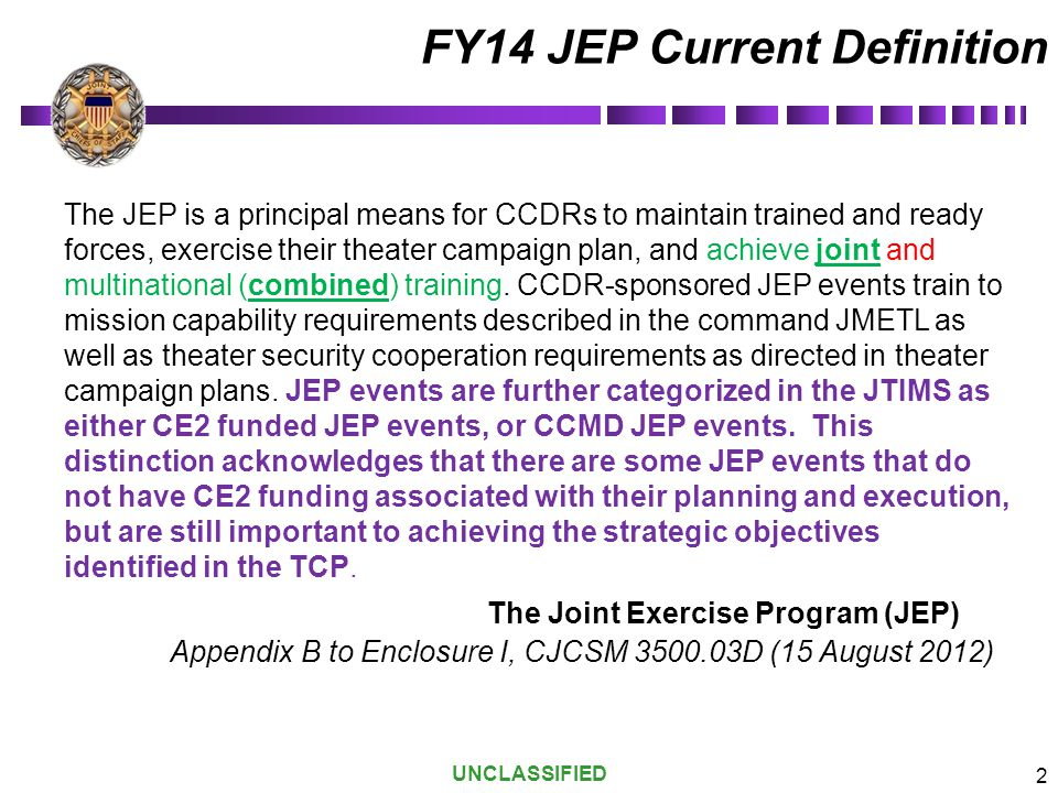 FY14 JEP Current Definition