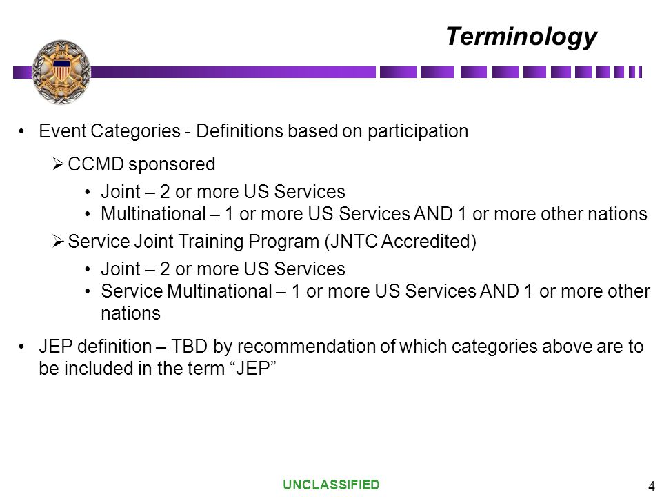 Terminology Event Categories - Definitions based on participation