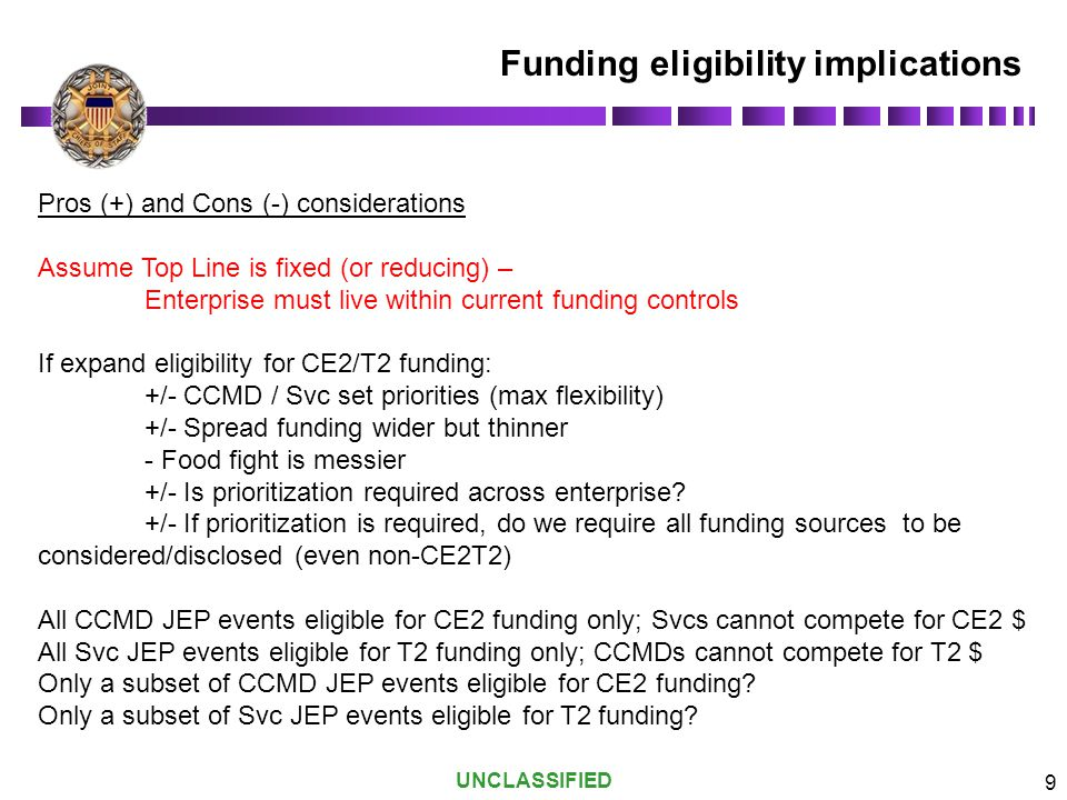 Funding eligibility implications