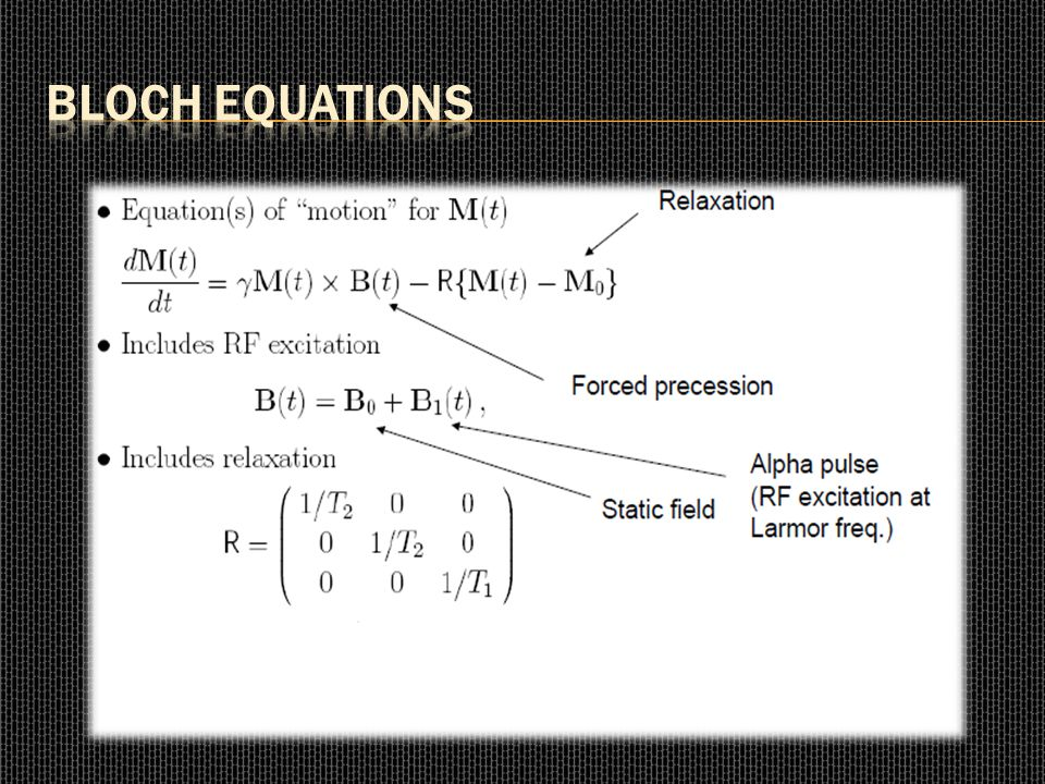 Bloch Equations