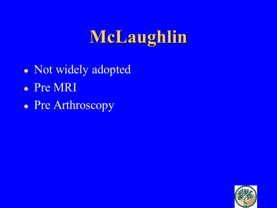 McLaughlin Not widely adopted Pre MRI Pre Arthroscopy