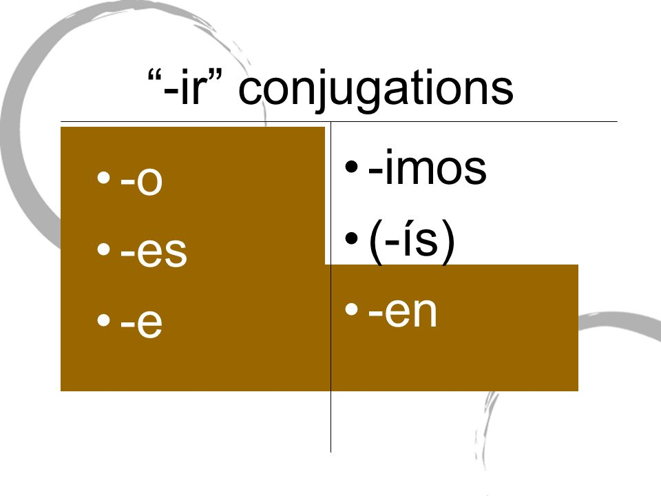 -ir conjugations -imos (-ís) -en -o -es -e