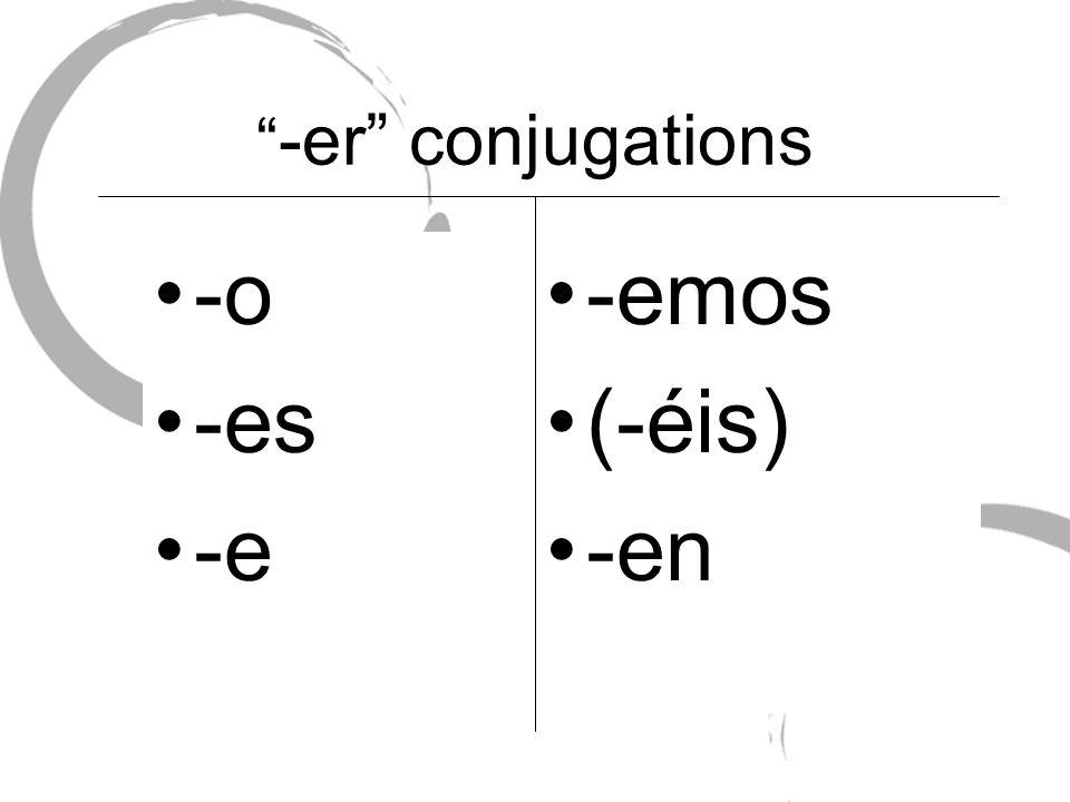 -er conjugations -o -es -e -emos (-éis) -en