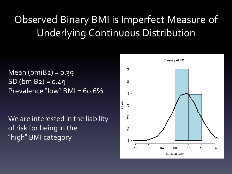 Observed Binary BMI is Imperfect Measure of Underlying Continuous Distribution