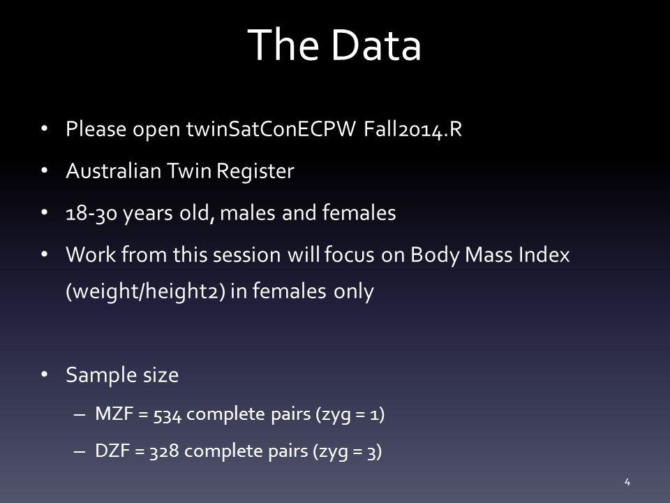 The Data Please open twinSatConECPW Fall2014.R