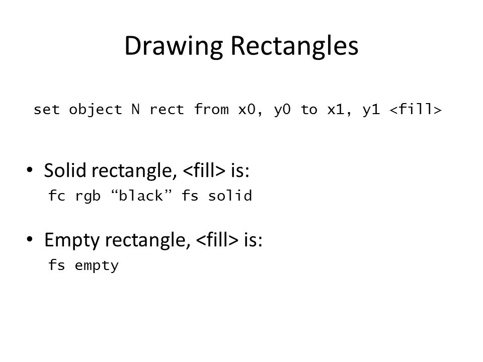 Drawing Rectangles Solid rectangle, <fill> is: