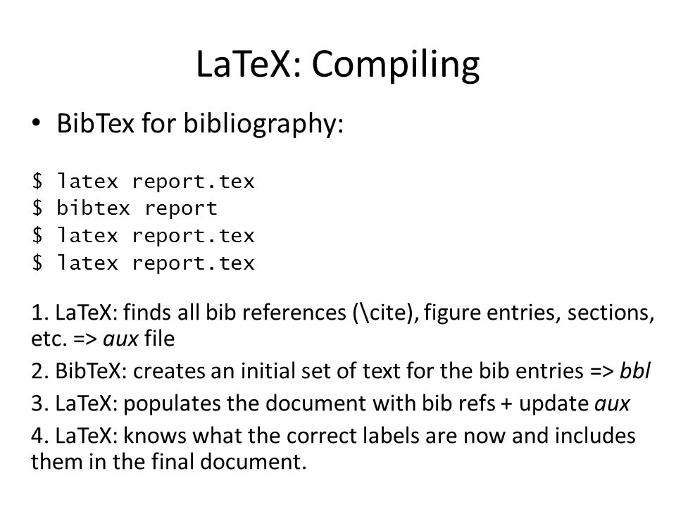 LaTeX: Compiling BibTex for bibliography: