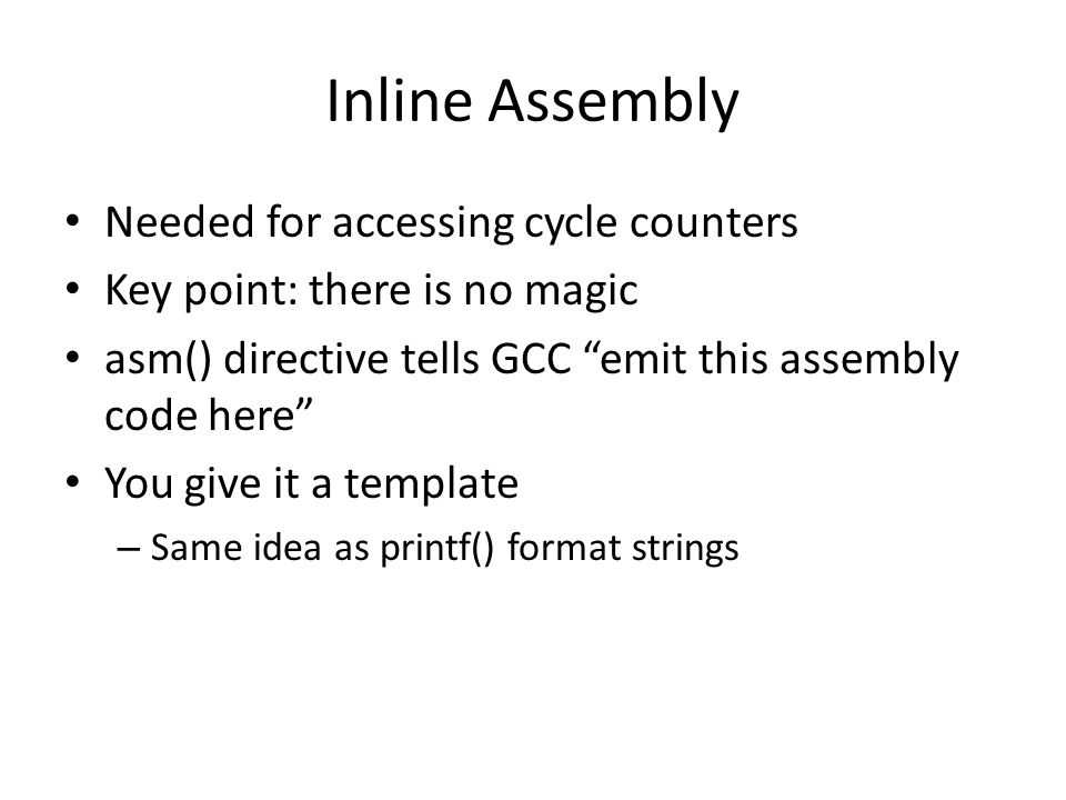Inline Assembly Needed for accessing cycle counters