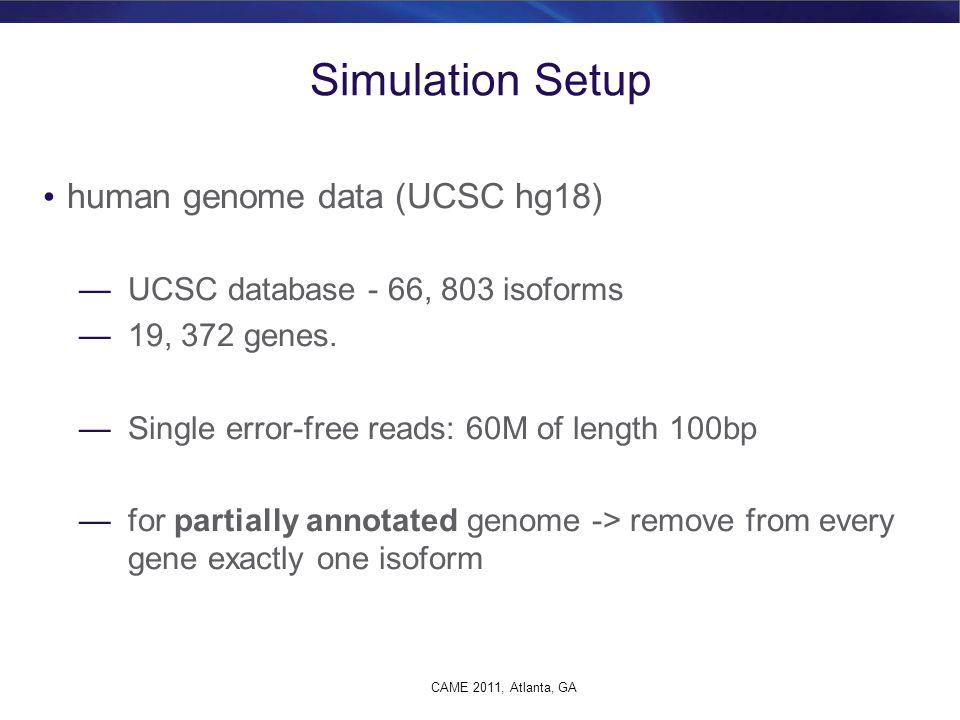 Simulation Setup human genome data (UCSC hg18)