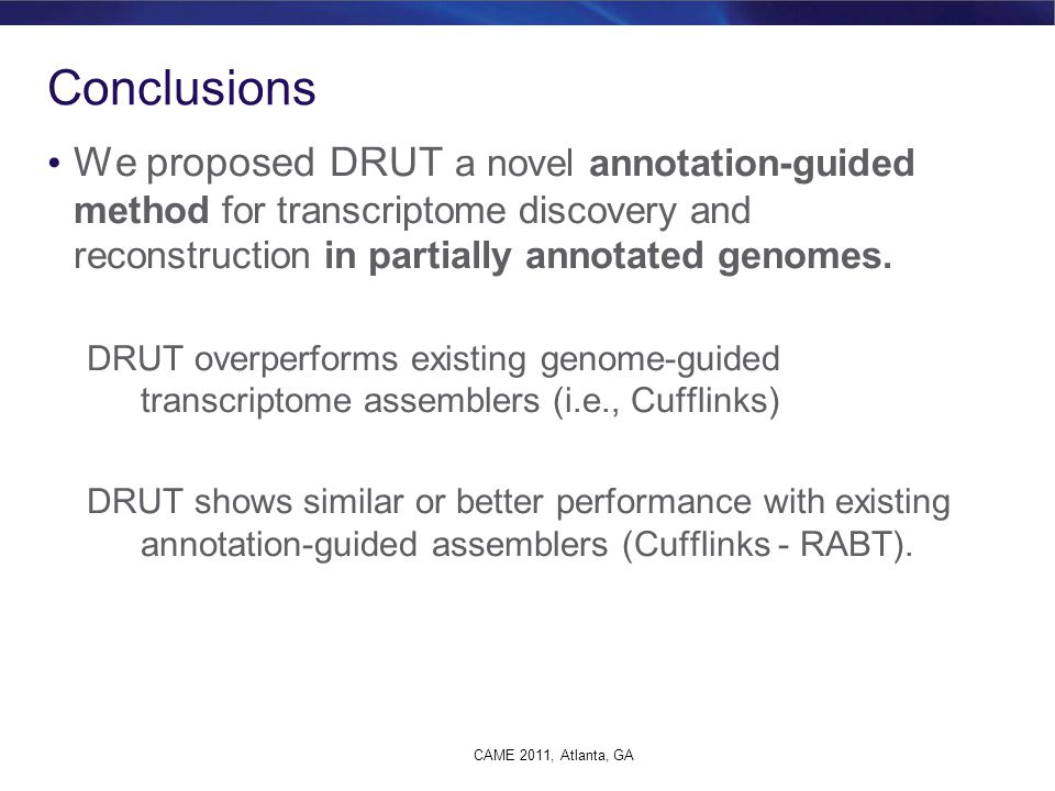 Conclusions We proposed DRUT a novel annotation-guided method for transcriptome discovery and reconstruction in partially annotated genomes.