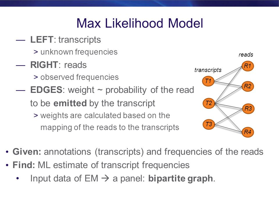 Max Likelihood Model LEFT: transcripts RIGHT: reads