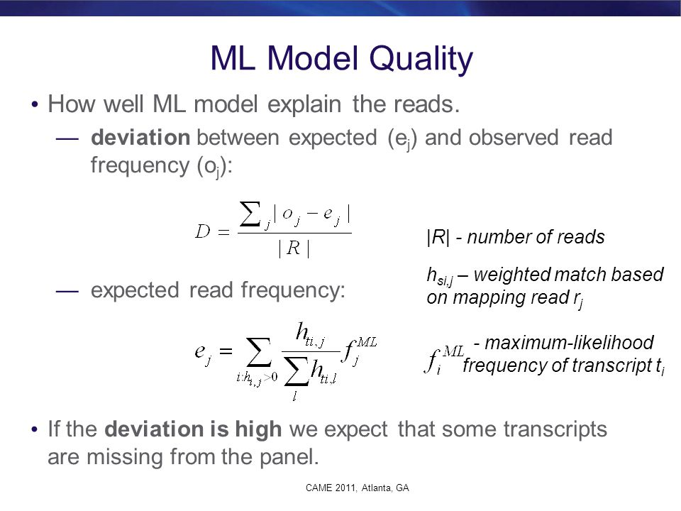 ML Model Quality How well ML model explain the reads.