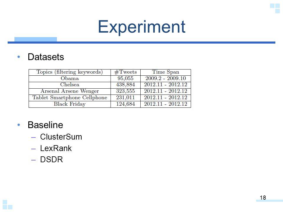 Experiment Datasets Baseline ClusterSum LexRank DSDR