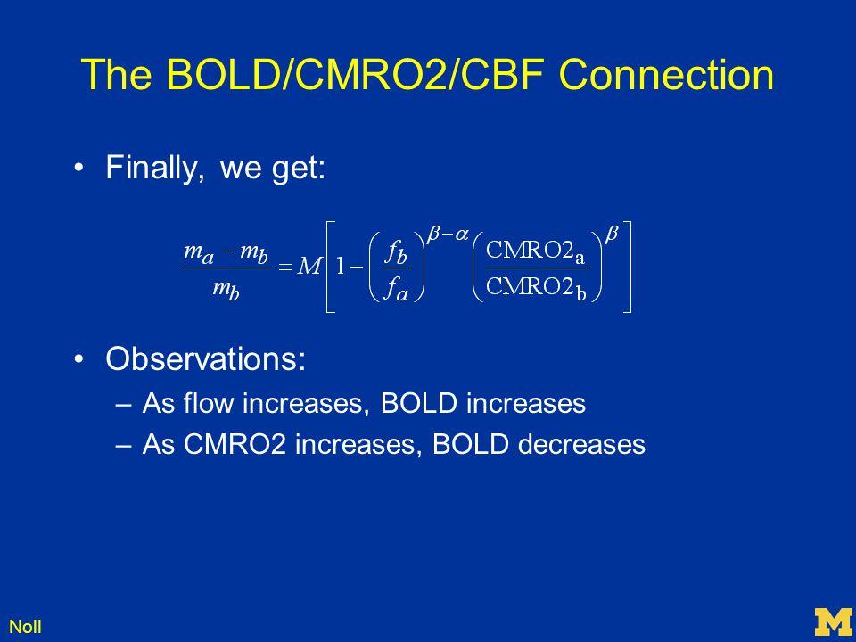 The BOLD/CMRO2/CBF Connection
