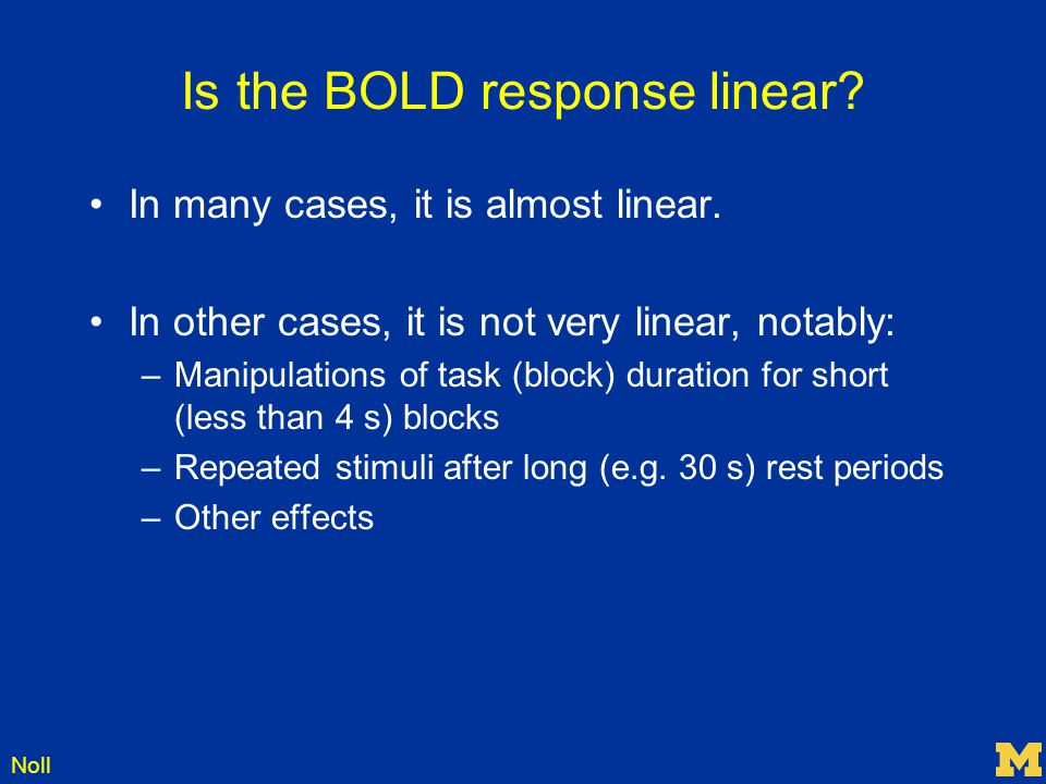 Is the BOLD response linear