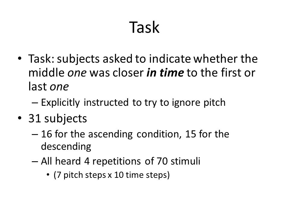 Task Task: subjects asked to indicate whether the middle one was closer in time to the first or last one.